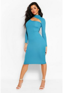 Teal green Cut Out High Neck Bodycon Midi Dress