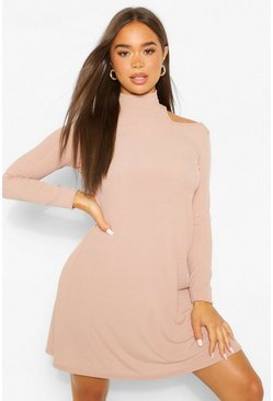 Sand beige Cold Shoulder Roll Neck Swing Dress