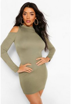Olive green Cold Shoulder Long Sleeve Bodycon Mini Dress