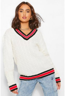 Cable Knit Varsity Jumper, Ivory