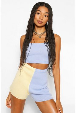 Blue Colour Block Knitted Shorts Coord