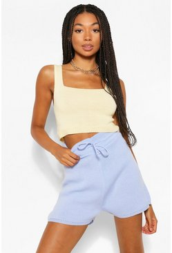 Lemon yellow Colour Block Knitted Shorts Co-Ord