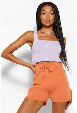 Lilac purple Colour Block Knitted Shorts Co-Ord