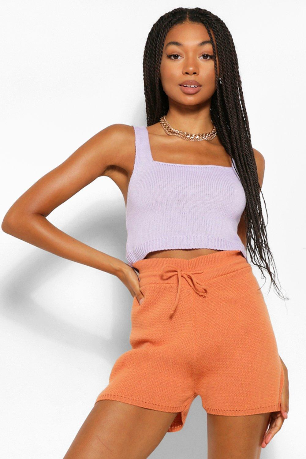 Don't Miss Out Colour Block Knitted Shorts Co-Ord