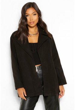 Black Oversized Collared Wool Look Coat