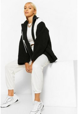 Asymmetric Colour Block Zip Through Teddy Jacket, Black noir