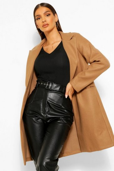 Mocha beige Tailored Wool Look Coat