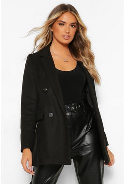 Black Short Double Breasted Wool Look Coat