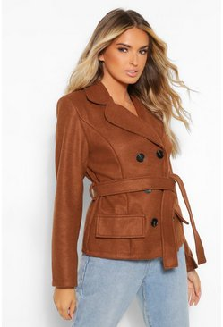 Chocolate brown Short Double Breasted Wool Look Coat
