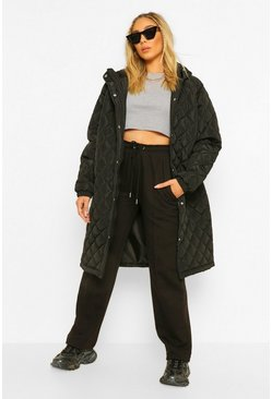 Black Hooded Quilted Longline Puffer Jacket