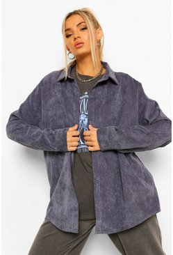 Denim-blue blue Cord Oversized Shirt