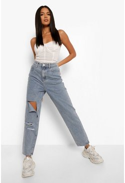 Vintage blue blue Denim Ripped Knee Baggy Mom Jeans