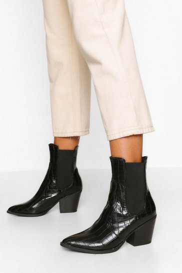 Black Pointed Toe Croc Chelsea Boots