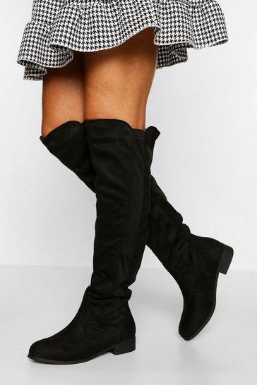 Black Flat Knee High Boots