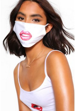 White Lips Fashion Face Mask