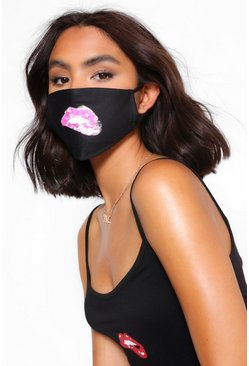 Black Lip Bite Fashion Face Mask
