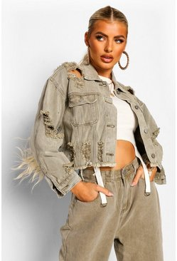 Khaki Acid Wash Distressed Cropped Denim Jacket