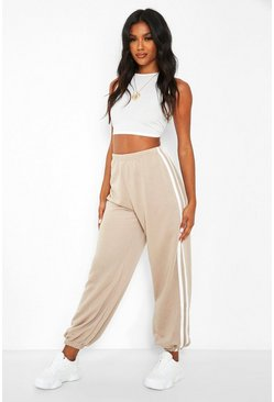 Beige Loose Fit Jogger With Side Stripes