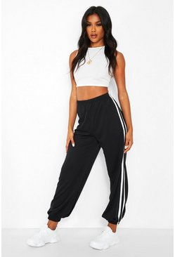 Black Loose Fit Jogger With Side Stripes