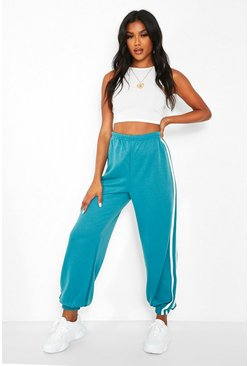 Teal green Sports Stripe Boyfriend Sweat Jogger