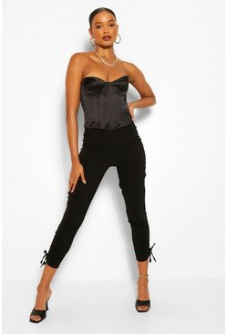 Black Ruched Ankle Stretch Jersey Trouser