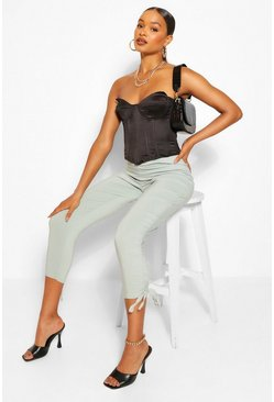Sage green Ruched Ankle Stretch Jersey Trouser