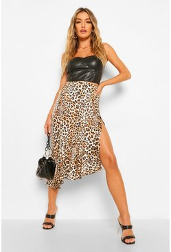 Tan brown Woven Leopard Split Ruffle Midi Skirt