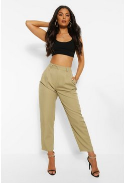 Sage green Woven Pleated Peg Trouser