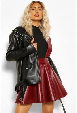 Berry red Croc Effect Pinafore Skater Skirt