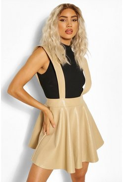 Taupe beige Croc Effect Pinafore Skater Skirt