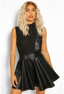 Black Leather Look Pinafore Skater Skirt