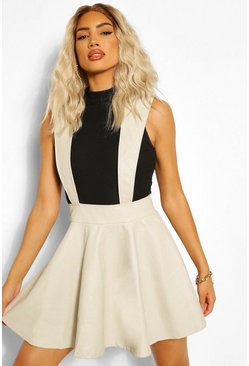 Ecru white Leather Look Pinafore Skater Skirt