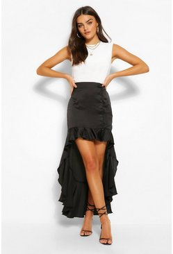 Black Satin Button Ruffle Drop Hem Midi Skirt