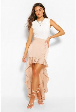Nude Satin Button Ruffle Drop Hem Midi Skirt