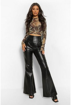 Black High Waist Leather Look Flare