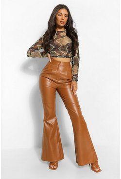Tan brown High Waist Leather Look Flare