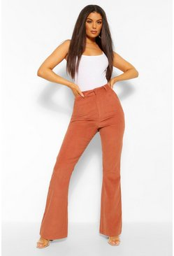 Tan brown Cord High Waist Flare