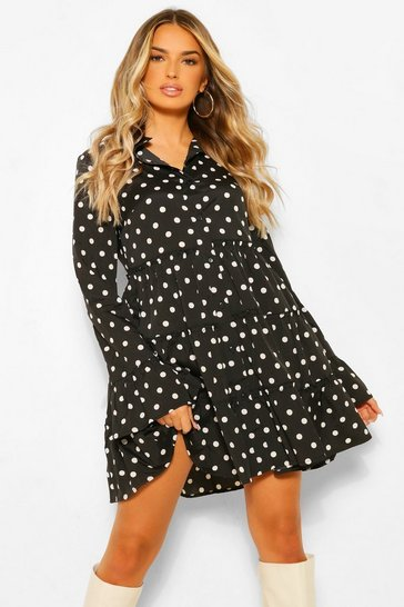 Black Polka Dot Tiered Smock Dress