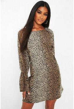 Brown Leopard Print Flared Sleeve Shift Dress