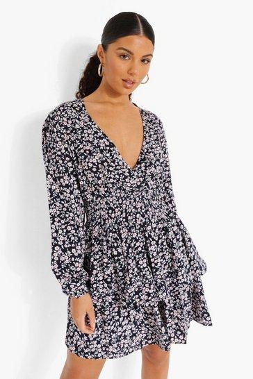 Black Ditsy Floral Tiered Skirt Skater Dress