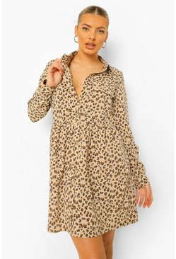 Cream Leopard Print Utility Style Oversized Smock Dress