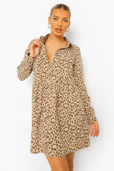 Cream white Leopard Print Utility Style Oversized Smock Dress
