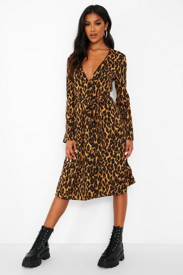 Brown Leopard Print Button Front Belted Midi Dress