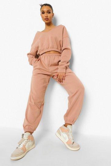 Camel beige V Neck Crop Sweater And Joggers Set