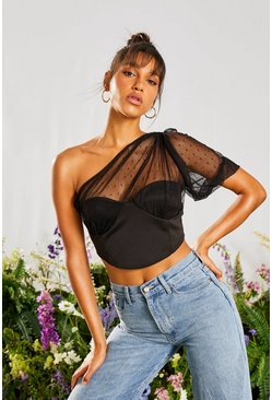 Black Puff Sleeve Organza Corset Style Top