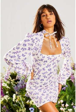 Lilac Butterfly High Neck Mini Dress