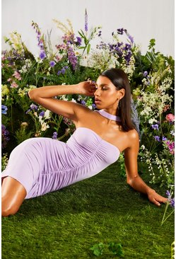 Lilac Ruched High Neck Bodycon Dress