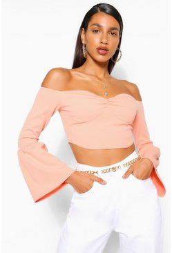 Peach Gathered Frill Sleeve Crop Top