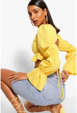 Gold metallic Puff Sleeve Backless Crop Top
