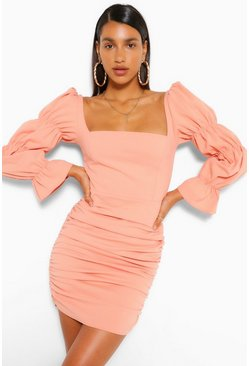 Peach Tiered Puff Sleeve Square Neck Mini Dress